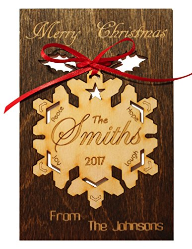 (Personalized Real Wood Happy Holidays Greeting Card with Custom Merry Christmas Wooden Ornament Keepsake Best Souvenir Original Unique Present for Him or Her (Snowflake With The Star Wreath Ornament))