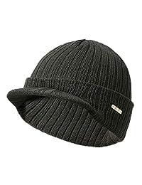 Knitted Hat, Shoresu Mens Womens Winter Beanies Hat Skullies Winter Warm Knitted Cap with Visor Brim - Deep Gray