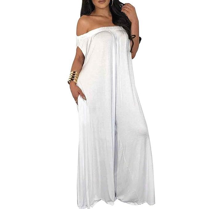 dd02df76bc1 Off Shoulder Sleeveless Wide Leg Pant Jumpsuit Women Plus Size Long Rompers  (Color   White