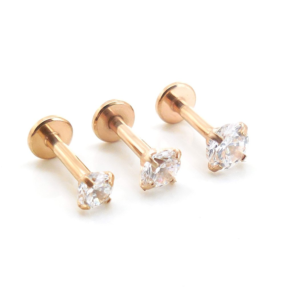 Emmajewels 16G 1/4 Rose Gold Plated Triple Forward Crystal Clear CZ Helix Stud Earring Cartilage 2-4mm Prong Set (3,3.5,4mm Stones)