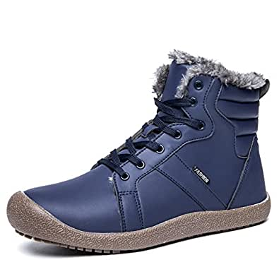 EXEBLUE Lace UP Snow Boots Shoes for Men Women,Water Resistant Lightweight Outdoor Ankle Bootie with Fully Faux Fur Lined Blue