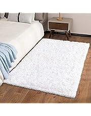 Ophanie Machine Washable 3 x 5 Feet White Rugs for Bedroom Fluffy, Shaggy Bedside Floor Dorm Area Rug, Soft Fuzzy Non-Slip Indoor Room Carpet for Kids Boys Teen Home Decor Aesthetic, Nursery