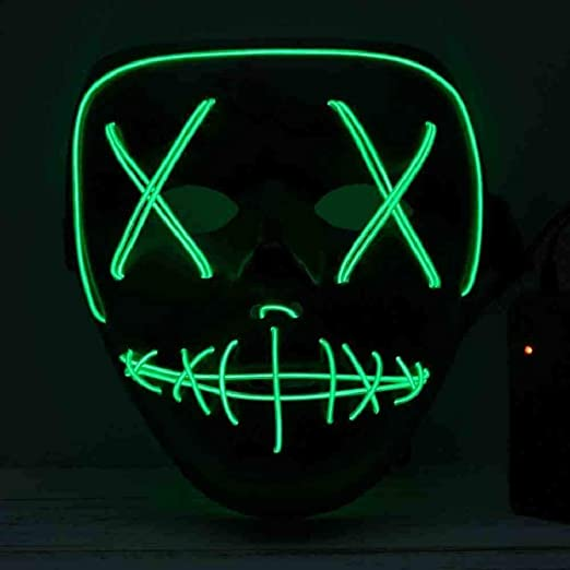 DSNGZ Halloween Máscara de LED Light Up Party Mask The Purge ...