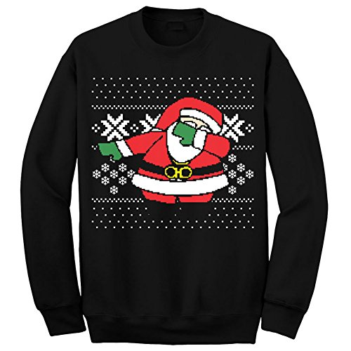 Womens Mens Ugly Christmas Sweater Dabbing Santa Sweatshirt (L, Black)