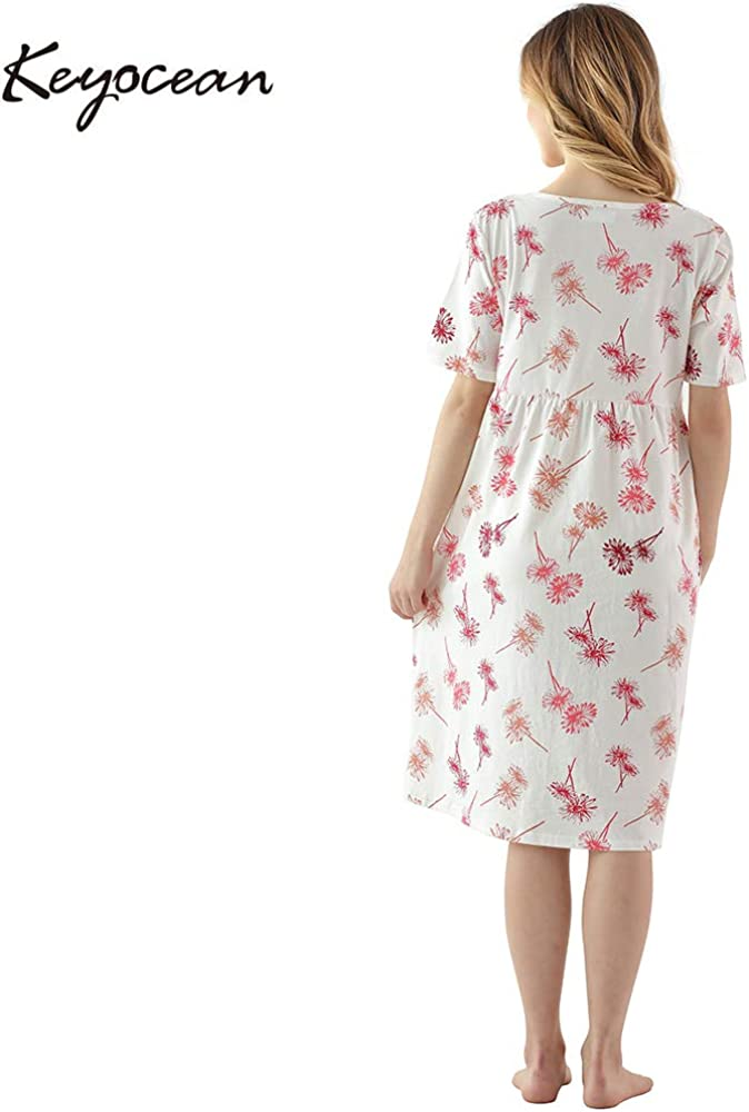 100/% Cotton Soft Breastfeeding Nightgown Short Sleeve Pregnancy Dress Keyocean Womens Maternity Nursing Dress