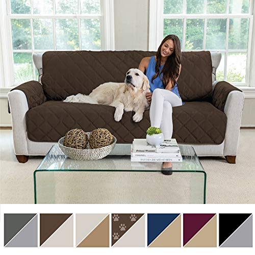 (MIGHTY MONKEY Premium Reversible Sofa Slipcover, Seat Width to 70 Inch Furniture Protector, 2 Inch Elastic Strap, Washable Couch Slip Cover, Protect Sofas from Kids, Dogs, Cats, Sofa: Chocolate/Taupe)