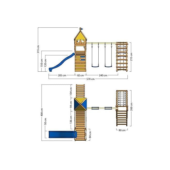 51eaFtDO29L WICKEY Torre juegos para caballeros nobles y princesas - Calidad y seguridad aprobada - Varias opciones de montaje Poste 7x7cm - Poste de columpio 9x9cm - Madera maciza impregnada a presión - Made in Germany Instrucciones de montaje detalladas - Plataforma de ampliación - Cajón de arena integrado - Puente colgante