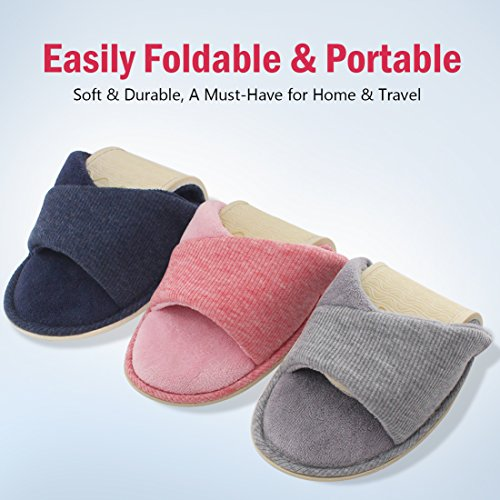 Indoor with Lining Open Comfy Summer Velvet Memory Slippers Foam Gray Slide HomeIdeas Terrycloth Women's Spring Shoes House Toe FxnqAZ50