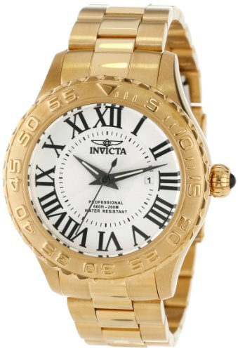 Invicta Men's 14379 Pro Diver Silver Textured Dial 18k Gold Ion Plated Stainless Steel - Cabochon Water Resistant Bracelet