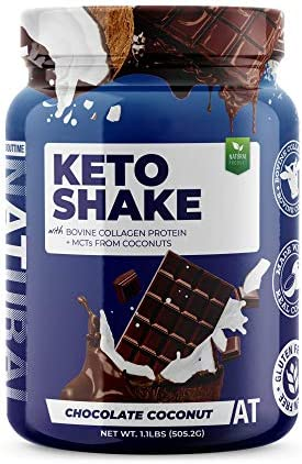 About Time Keto Shake with Bovine Collagen Protein MCTs from Coconuts – 19g Fat, 11g Protein, 5g Net Carbs – Chocolate Coconut, 1lb Jar