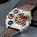 Men's Watch Oversize Steampunk Dual Time Zone Four Dial Big Face Watches Soft Leather Band Policy Army Compass… 7