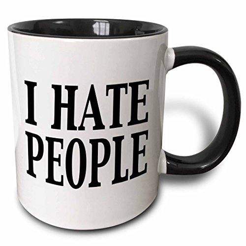 (3dRose 157421_4 I I hate people Mug, 11 oz, Black)