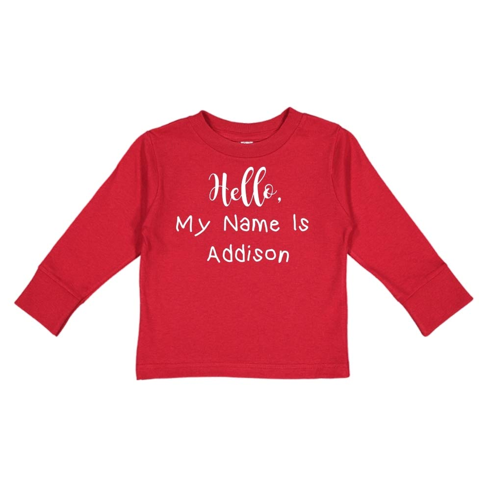 Personalized Name Toddler//Kids Long Sleeve T-Shirt My Name is Addison Hello
