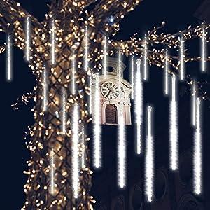 GPODER Doccia Pioggia Luci 30CM, 8 Impermeabile Spirale Tubo Luci della Pioggia di Meteore, 288 LEDs Waterfall Light per Natale/Esterno/Albero/Casa/Giardino/All'Aperto Decorazione(Bianco) 11 spesavip