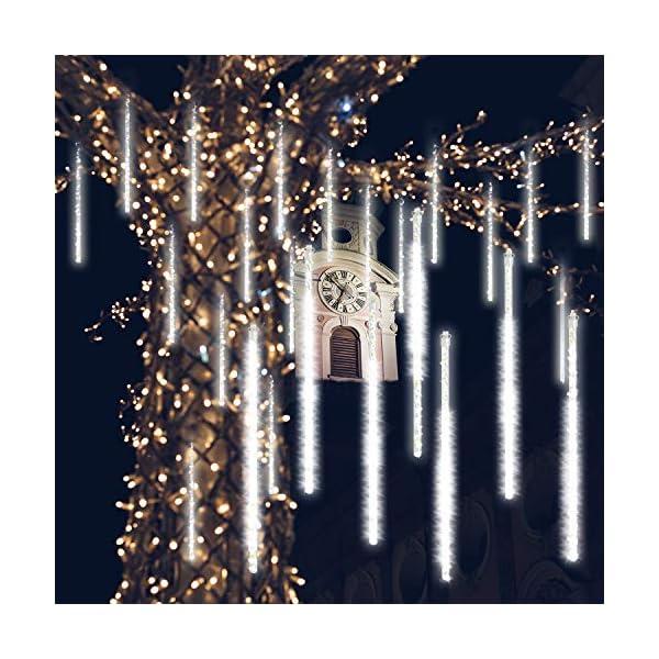 GPODER Doccia Pioggia Luci 30CM, 8 Impermeabile Spirale Tubo Luci della Pioggia di Meteore, 288 LEDs Waterfall Light per Natale/Esterno/Albero/Casa/Giardino/All'Aperto Decorazione(Bianco) 1 spesavip