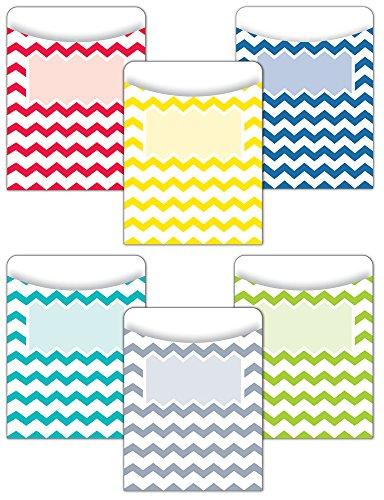 Creative Teaching Press Chevron Solids Jumbo Library Pockets (6924)