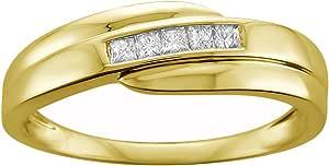 14k Yellow Gold Princess-cut Diamond Men's Wedding Band Ring (1/4 cttw, H-I, I1-I2)   Real Diamond Wedding Band For Men   Gift Box Included