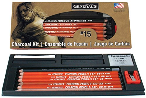 Compressed Charcoal Pencil - General Pencil Charcoal Kit, 12-Piece