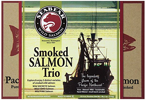 SeaBear Smoked Salmon Trio, 18-Ounce Box (Fish Smoked Salmon)