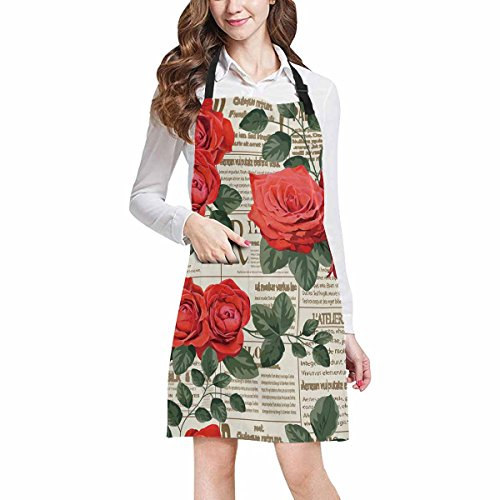 InterestPrint Vintage Floral Decor Rose Flowers in Newspaper Adjustable Bib Apron with Pockets - Commercial Restaurant and Home Kitchen Adjustable Apron, Plus Size by InterestPrint