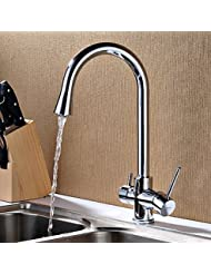 BL Contemporary Potable Water Chrome Finish Brass One Hole Two Handles Kitchen Faucet