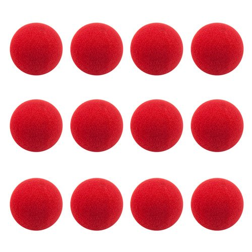 12-pack Red Foam Clown Noses | Squishy Novelty Nose Bulk Set | Red Nose Day, Birthdays, Circus, Dance Party, Rudolph Reindeer Nose, and Halloween Accessory, Party Favor, and Gag Gifts -