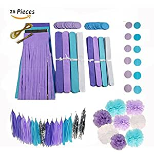 Party Tonight 26 Pcs Party Decoration Tissue paper Pom Pom Polka Dot Tassel Grand Flowers Tissue, Great for All Occasions: Birthdays, Weddings, Holidays, Anniversary, Baby Showers or Any Party.