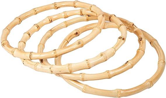 2Pcs Bamboo Handle Purse,4.7In Natural Crafting Handmade for DIY Craft Purse Rings Bags Handbag Making Accessories