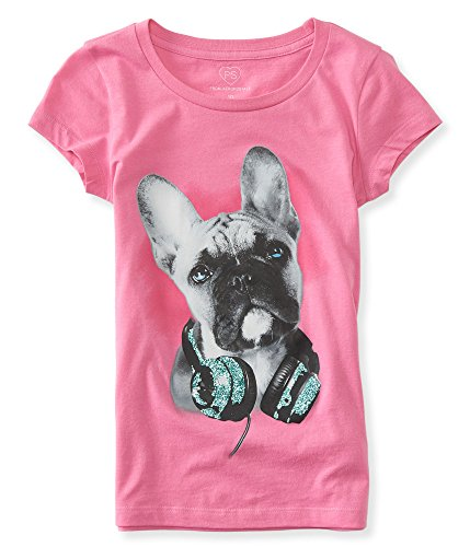 - P.S. From Aeropostale Girls Dog With Headphones Graphic T Shirt 6 Cherry Pink