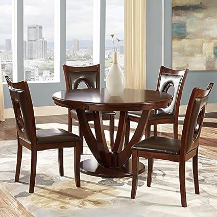 TRIBECCA HOME Miraval 5 Piece Cherry Brown Round Dining Set