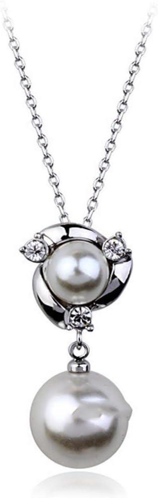 wuligeya Collar de Perlas con Incrustaciones de Diamante Colgante Adornos