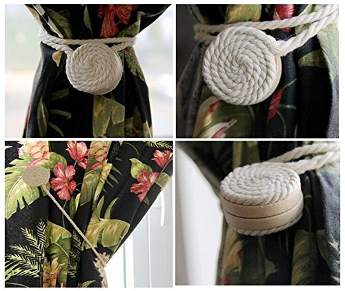 EleCharm 1 Pair Handmade Natural Cotton Thread Spiral Magnetic Curtain Tieback Holdback Clip (Nature beige white)