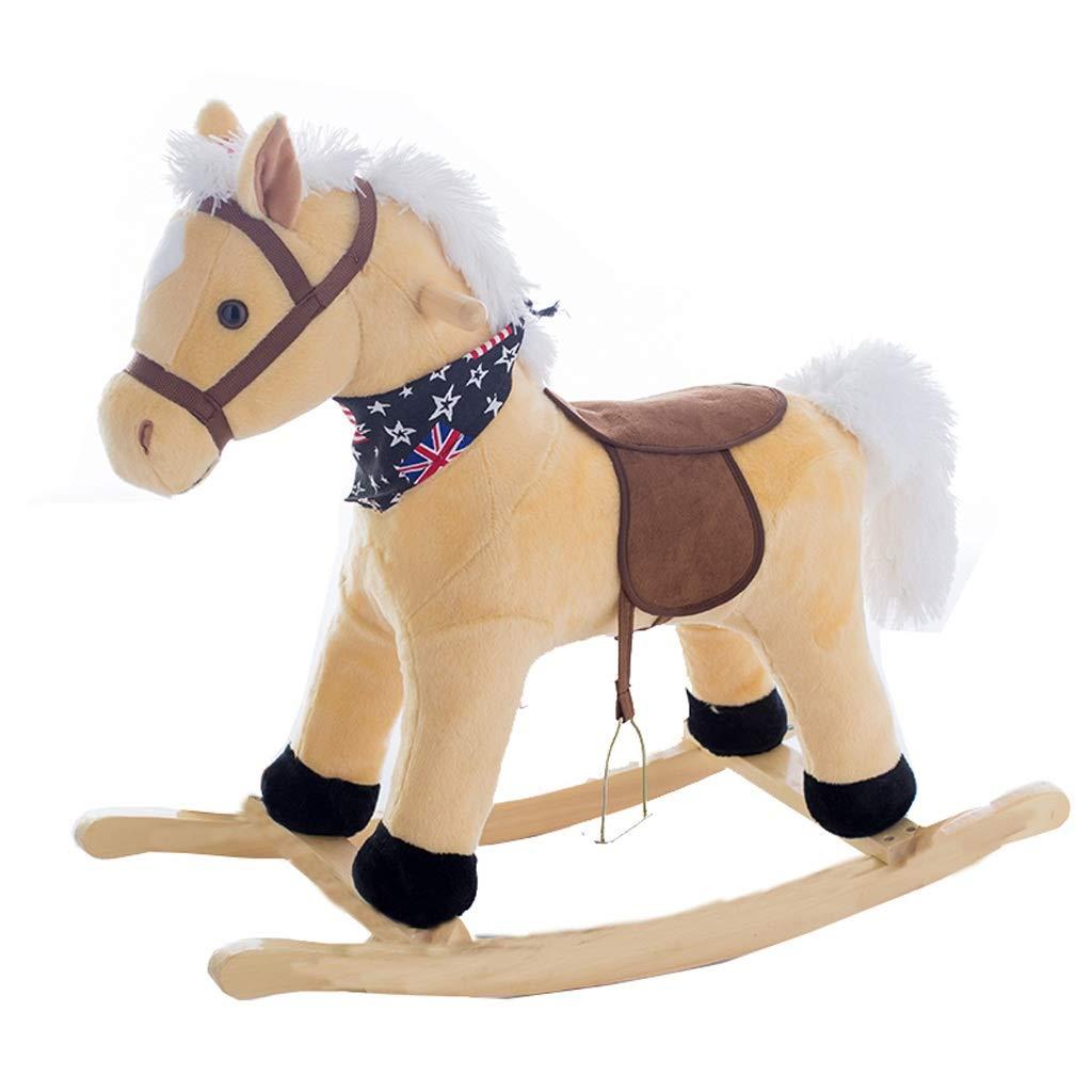 Cavallo a dondolo ZJING Cavallo da Musica a Dondolo in Legno massello Legno massello 2-7 Anni Regalo per Bambini