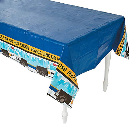 Fun Express Police Party Tablecloth Plastic Table Cover - 54