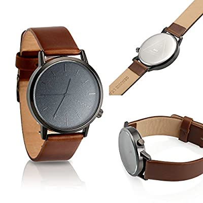 Oct17 Men's Modern Classic Faux Leather Stainless Steel Business Military Sport Quartz Star Wrist Watch