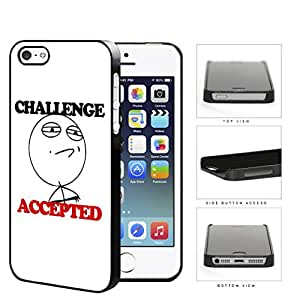 Challenge Accepted Funny Cartoon Meme Hard Plastic Snap On Cell Phone Case Apple iPhone 5 5s