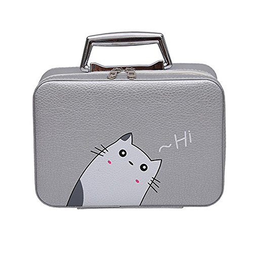 Cute Bags Portable Travel Makeup Bag Makeup Case Mini Makeup Train Case Zipper Storage (gray cat)