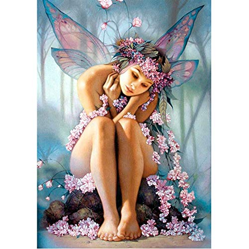 (Cinhent Diamond Painting, 5D Embroidery Rhinestone Pasted DIY Cross Stitch - 30 × 40CM, Home/Bedroom / Office/Study, Flowers Butterflies, Beautiful Fairy Girls Arts)