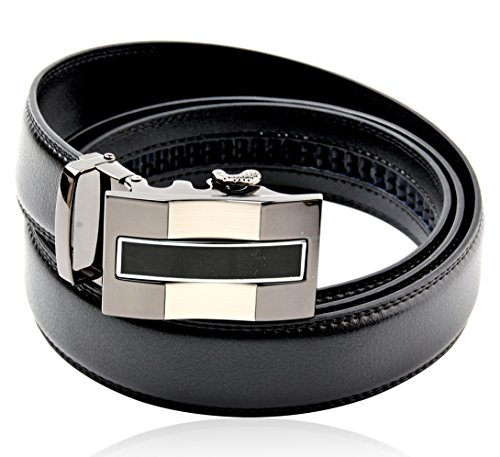 Men's Black Genuine Leather Dress 35 mm Wide Belts, Adjustable Belt Strap, with Automatic Ratchet Alloy Removable Silver Buckle