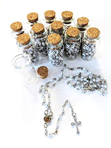 12pcs Rosary in Glass Jar Bottle Beads White Beaded Rosary Silver Catholic Crucifix Necklace Virgin Mary lot of 12