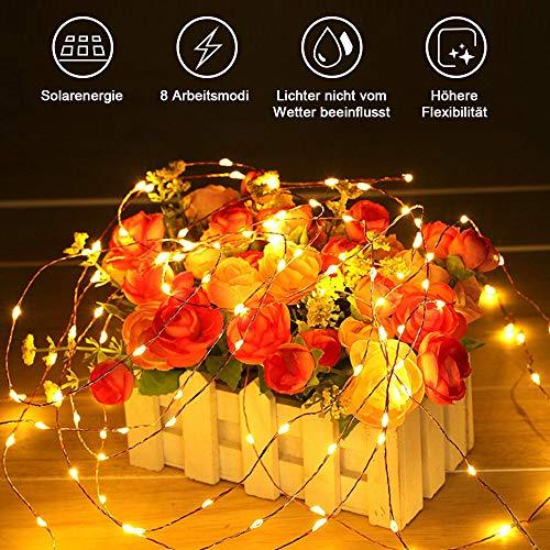 Aifulo 20m warm White solar Light,8 Modi Solar Lichterketten, wasserdichte Kupferdraht Lichterketten, tragbare Indoor Outdoor dekorative Lichterketten für Patio, Garten, Hochzeit, Party, Festival,Baum