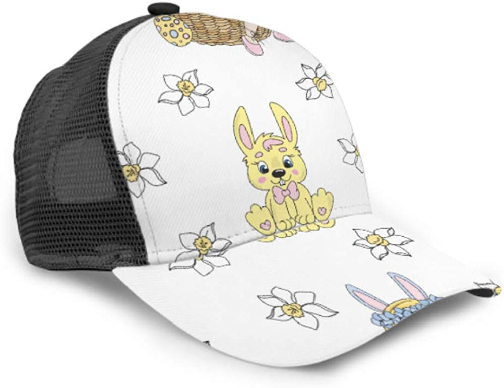 Baseball Cap Easter Rabbit Bloom Nature Season Spring Adjustable Mesh Unisex Baseball Cap Trucker Hat Fits Men Women Hat