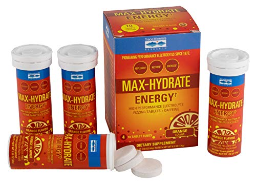 Trace Minerals Max-Hydrate Energy Plus Caffeine, 4 Pack, fizzing Tablets