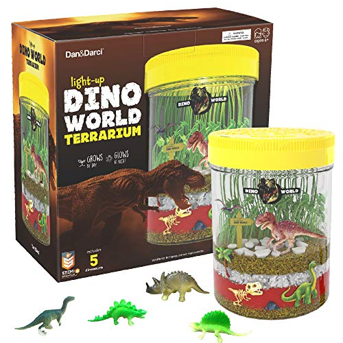 Light-up Dino World Terrarium Kit for Kids with LED Light on Lid - Create Your Own Customized Mini Dinosaur Garden in a Jar That Glows at Night - Great Science Kits - Gardening Gifts for Children (Terrarium Large)