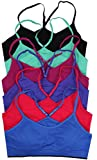 ToBeInStyle Women's Pack of 6 Racerback Sports Bras or Active Shorts (One Size - Regular, Sports Bras-Assorted 2)