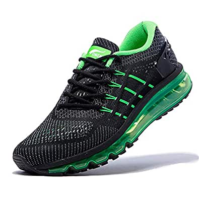 ONEMIX Air Cushion Mens Running Shoes Fashion Tilt Tongue Sneaker for Work Gym Fitness 1155 Black Green 39