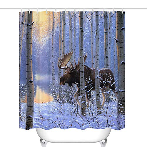 Final Friday Bull Moose Antlers Male Wildlife Theme Fabric Shower Curtain Sets Bathroom Decor with Hooks Waterproof Washable 72 x 72 inches Brown and Purple