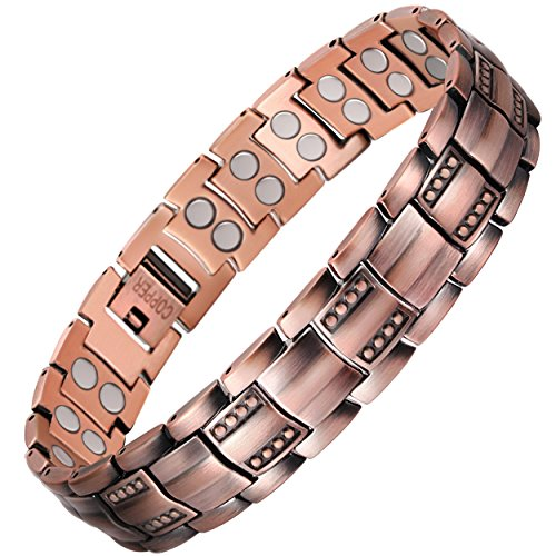VITEROU Unisex Double Row Magnetic Pure Copper Therapy Bracelet Wristband with Healing Magnets for Arthritis Pain Relief,3500 Gauss