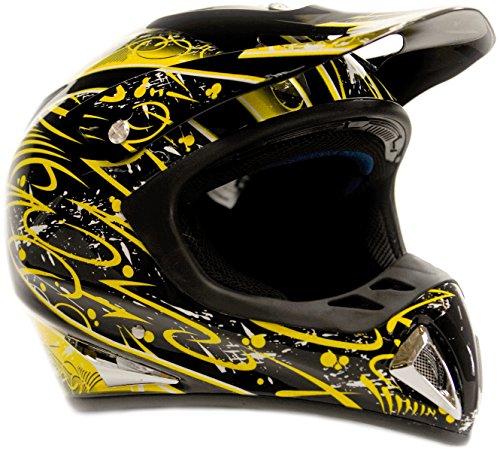 (Typhoon Adult Dirt Bike Helmet ATV Off Road ORV Motocross Helmet DOT Motorcycle Black & Yellow (Large))