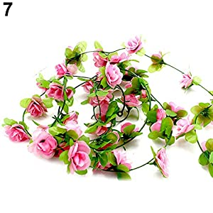 BYyushop Garden Home Wedding Party Decor Fake Flower Garland Artificial Rose Blossom Vine - Light Pink 93